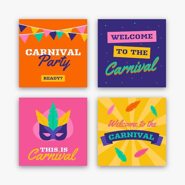 Carnaval party instagram postverzameling Gratis Vector