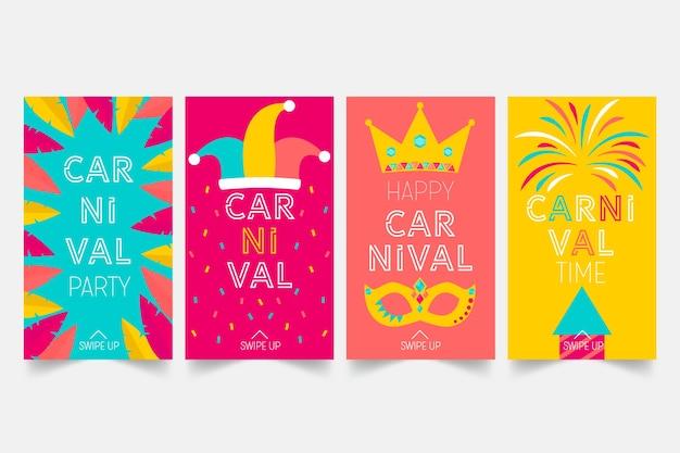 Carnaval party instagram-verhalen ingesteld Gratis Vector