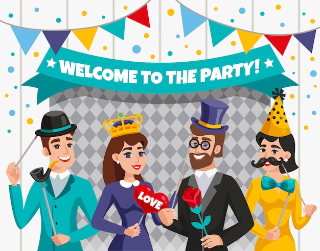 Carnaval photo booth party people samenstelling Gratis Vector