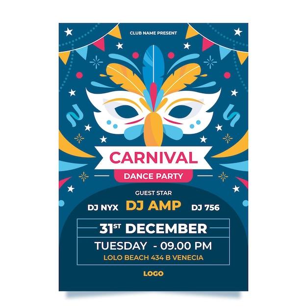 Carnaval van venetië poster sjabloon Gratis Vector