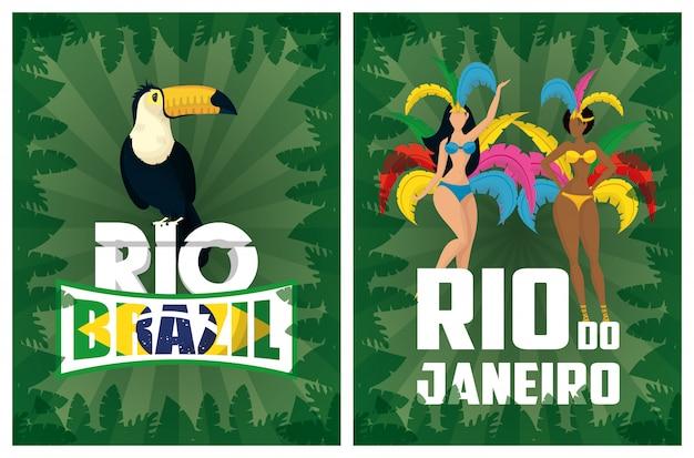 Carnavalillustratie van brazilië met mooie interraciale garotas en toekan Premium Vector