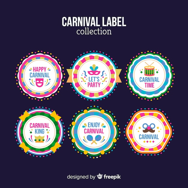 Carnival-labelverzameling Gratis Vector