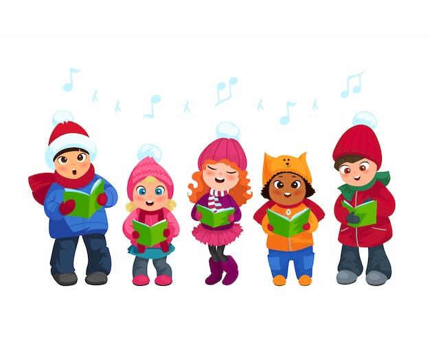 Caroling-kinderen instellen Gratis Vector