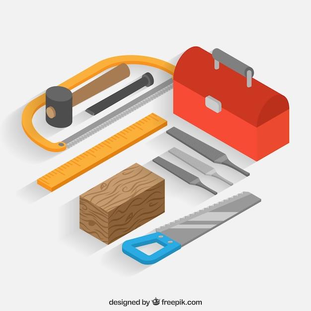Carpenter's tools met isometrische stijl Gratis Vector