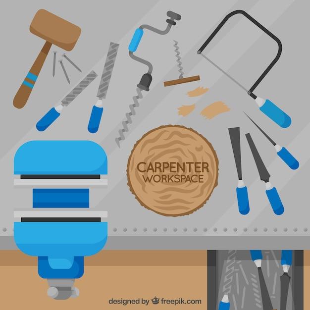 Carpenter's werkruimte Gratis Vector