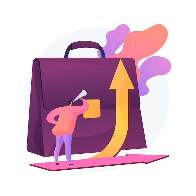 Carrière ontwikkeling abstract concept illustratie. loopbaanverandering, succesvolle alternatieve loopbaan beheren, omscholing voor een nieuwe baan, prestaties van medewerkers, taakverantwoordelijkheid Gratis Vector