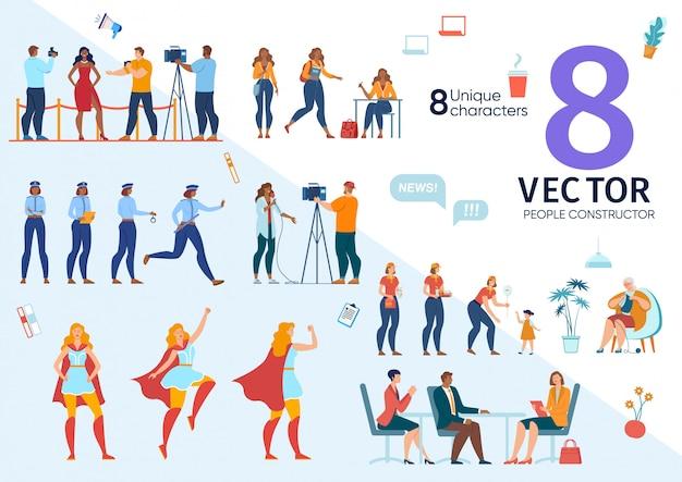 Carrièremogelijkheden voor vrouw concepten ingesteld Premium Vector