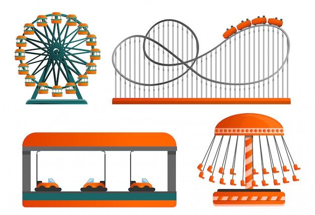 Carrousel icon set, cartoon stijl Premium Vector