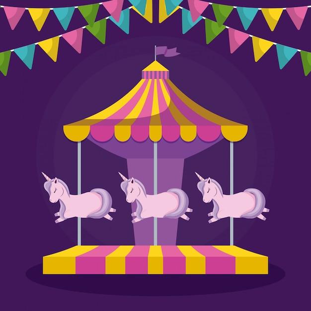 Carrousel met eenhoorns en slingers opknoping Premium Vector