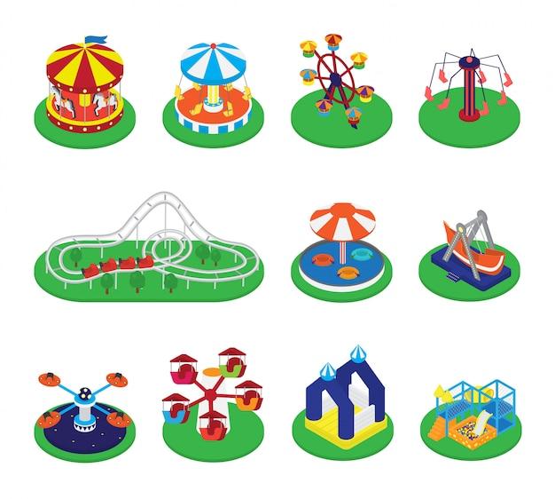 Carrousel vector draaimolen of rotonde en carnaval circus van pretpark illustratie set Premium Vector