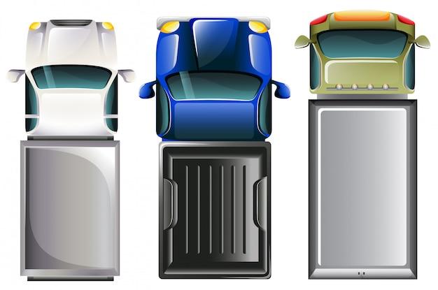 Cars bovenaanzicht Gratis Vector