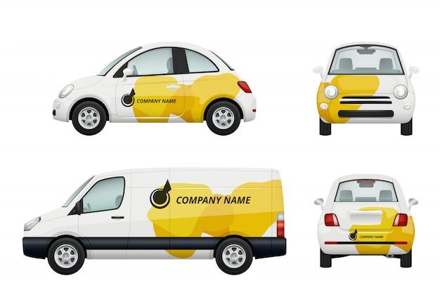 Cars branding. realistische illustraties van adverteren op auto's Premium Vector