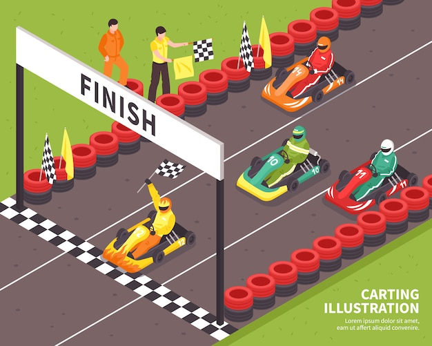 Carting race finish Gratis Vector