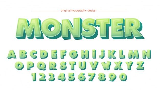Cartoon 3d groene typografie Premium Vector