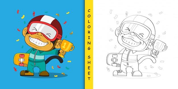 Cartoon aap de kampioen, kleurplaat Premium Vector