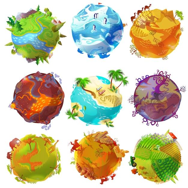 Cartoon aarde planeten instellen Gratis Vector