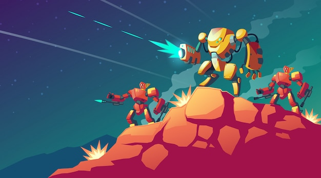Cartoon afbeelding met robot oorlog op buitenaardse planeet, mars. landschap met gevechtsrobots. Gratis Vector