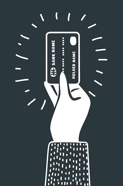 Cartoon afbeelding overzicht van hand met creditcard zwart pictogram Premium Vector