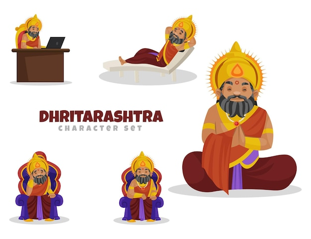 Cartoon afbeelding van dhritarashtra-tekenset Premium Vector