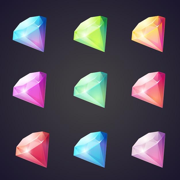 Cartoon afbeelding van edelstenen en diamanten in verschillende kleuren op een zwarte achtergrond voor computerspelletjes. Premium Vector