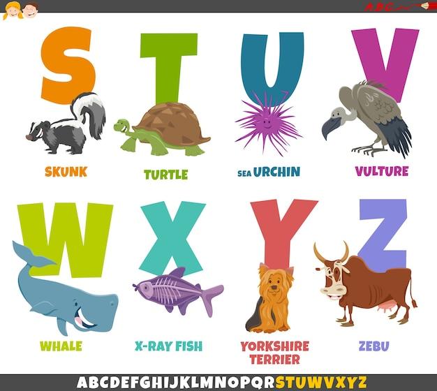 Cartoon afbeelding van educatieve alfabet set van s tot z met dieren Premium Vector