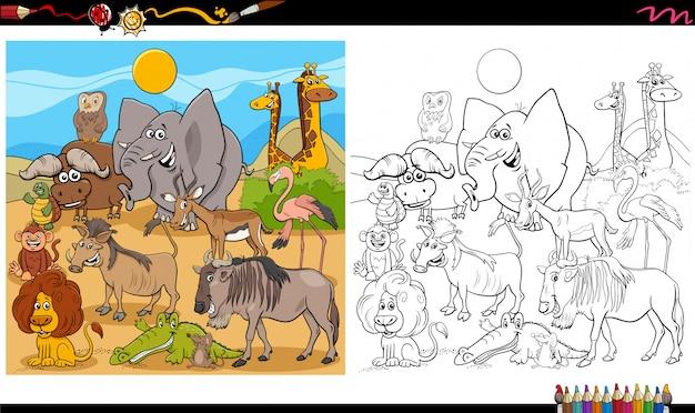 Cartoon afbeelding van wilde dieren karakters grote groep boekpagina kleurplaten Premium Vector