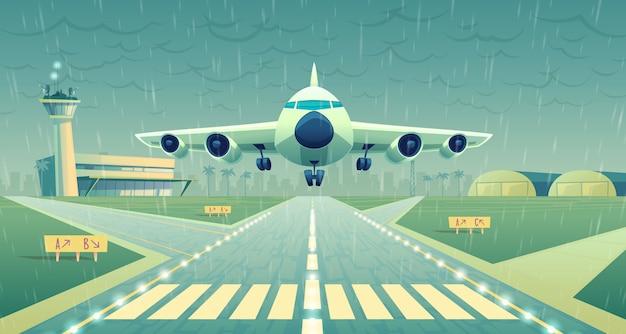 Cartoon afbeelding, witte passagiersvliegtuig, jet over start-en landingsbaan. Gratis Vector