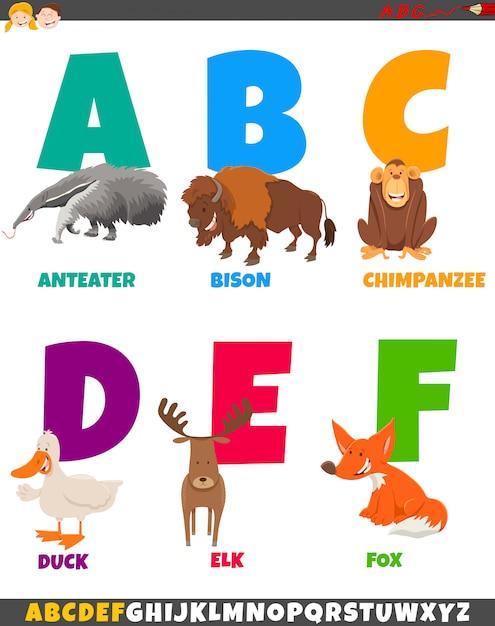 Cartoon alfabet set met dierlijke karakters Premium Vector