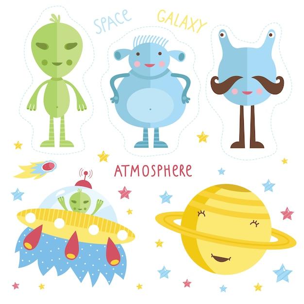 Cartoon aliens instellen Premium Vector