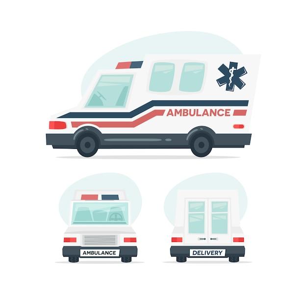 Cartoon ambulance auto Premium Vector