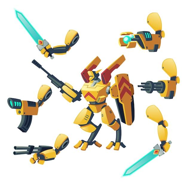 Cartoon android, menselijke soldaat in exotische robots met geweren Gratis Vector