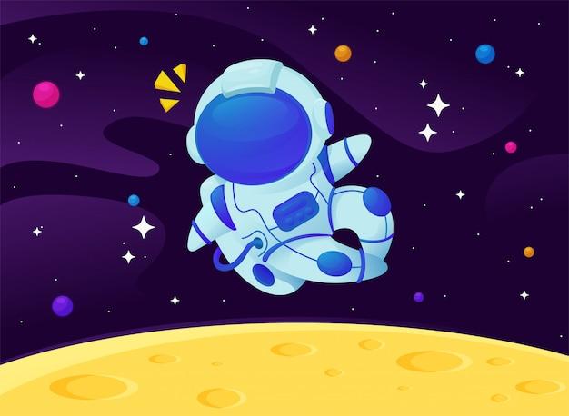 Cartoon astronauten zwevend in de melkweg met een fonkelende ster Premium Vector