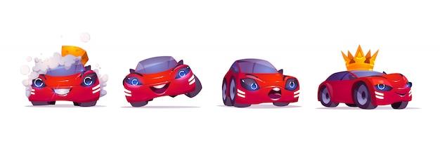 Cartoon auto karakter wassen met schuim, vip in gouden kroon, uiten blije en verraste emoties Gratis Vector