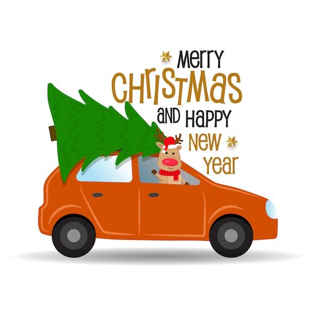 Cartoon auto met rendieren en kerstboom. Premium Vector