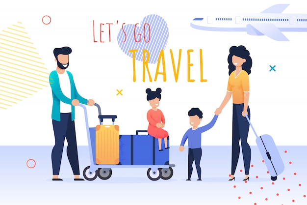 Cartoon banner met lets go travel motiveren citaat Premium Vector