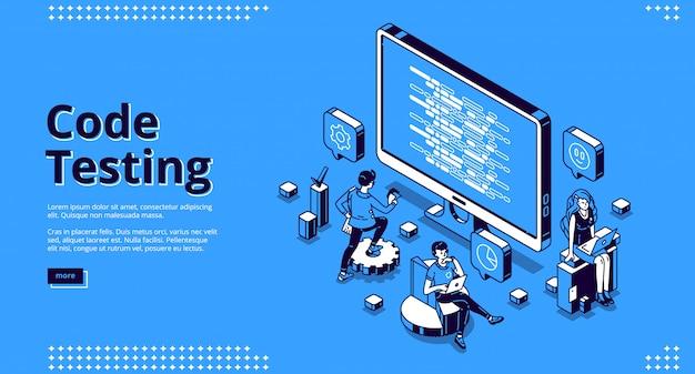 Cartoon banner van code testen Gratis Vector