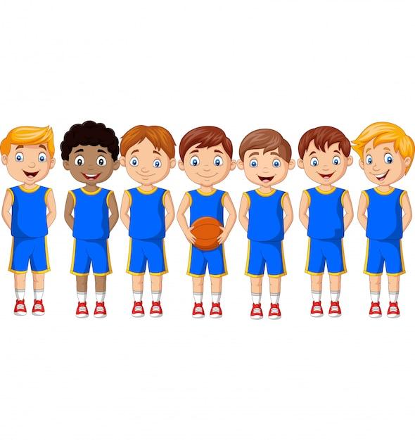 Cartoon basketbal kinderen team in uniform Premium Vector