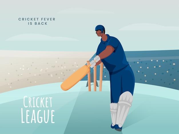Cartoon batsman-speler in actie pose op abstracte speelplaats voor cricket league fever is back concept. Premium Vector