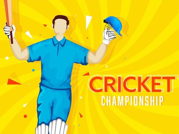 Cartoon batsman speler in winnende pose op gele stralen achtergrond voor cricket kampioenschap concept. Premium Vector