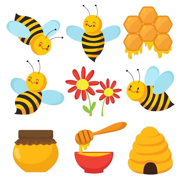 Cartoon bee. leuke bijen, bloemen en honing. geïsoleerde vector tekenset Premium Vector