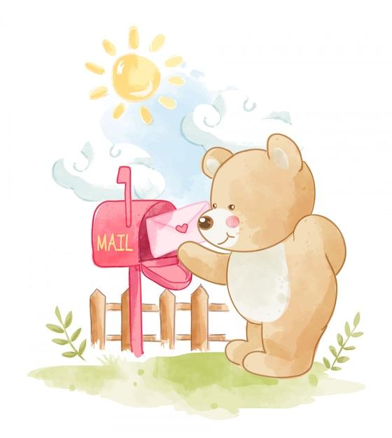 Cartoon beer met liefdesbrief illustratie Premium Vector