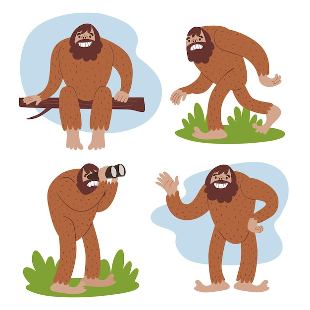 Cartoon bigfoot sasquatch-tekenverzameling Gratis Vector