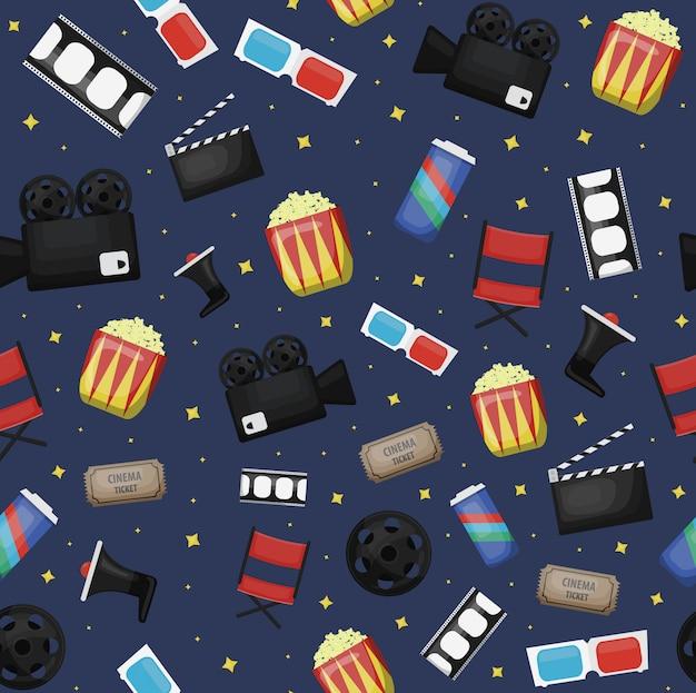 Cartoon bioscoop naadloze patroon op donkerblauwe achtergrond voor cadeaupapier, branding en bekleding. Premium Vector