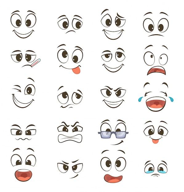 Cartoon blije gezichten met verschillende uitdrukkingen. vector illustraties Premium Vector
