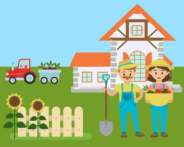 Cartoon boerderij, boeren met ecoproductie uit het veld, Premium Vector