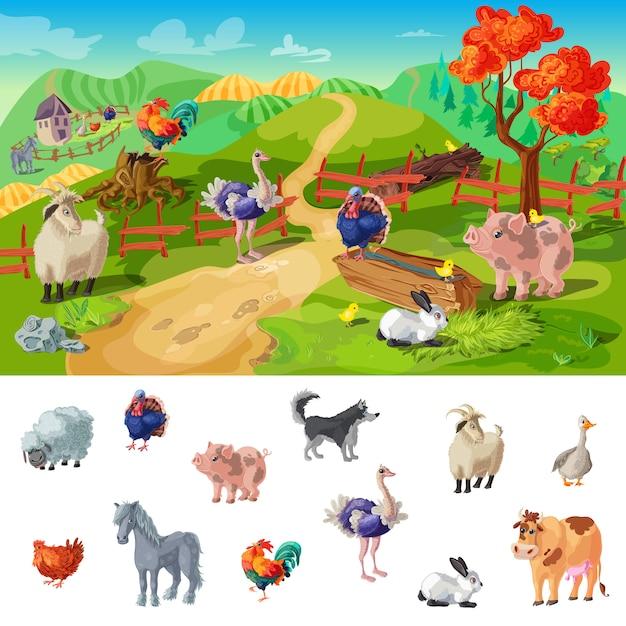 Cartoon boerderij dieren illustratie Gratis Vector