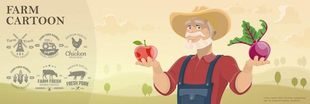 Cartoon boerderij en landbouw achtergrond met zwart-wit landbouw emblemen en boer met appel en bieten op prachtig veld landschap Gratis Vector