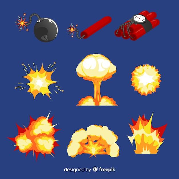 Cartoon bom en bomexplosie effect collectie Gratis Vector