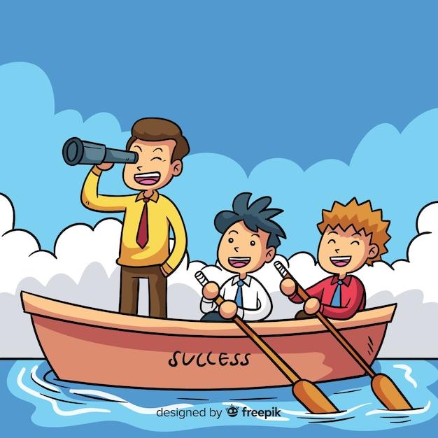 Cartoon boot leiderschap achtergrond Gratis Vector