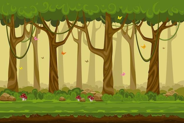 Cartoon boslandschap, eindeloze natuur achtergrond voor computerspelletjes. natuurboom, buitenplant groen, natuurlijk omgevingshout Gratis Vector